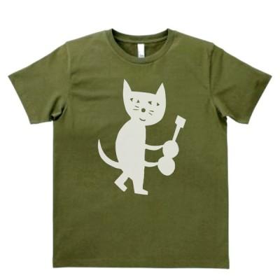 動物・生き物 Tシャツ ギターを持つネコ カーキー MLサイズ