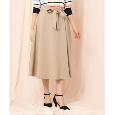 Couture Brooch(クチュールブローチ) 【WEB限定(LL)サイズあり/洗える】ベルテッドフレアリネンライクミモレスカート