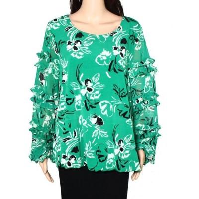 レディース 衣類 トップス Womens Blouse Floral Boat Neck Tiered Ruffled Sleeve XL ブラウス&シャツ