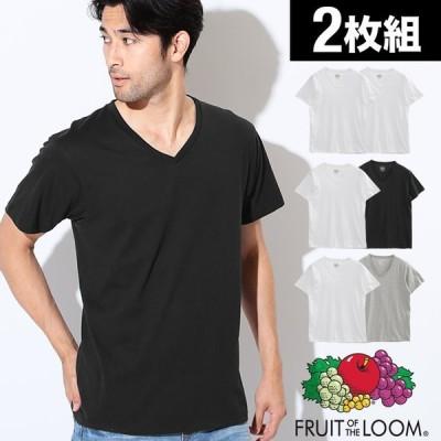 FRUIT OF THE LOOM Tシャツ メンズ 2枚組 半袖 無地 Vネック ブランド 正規品 まとめ買い セット フルーツオブザルーム 送料無料