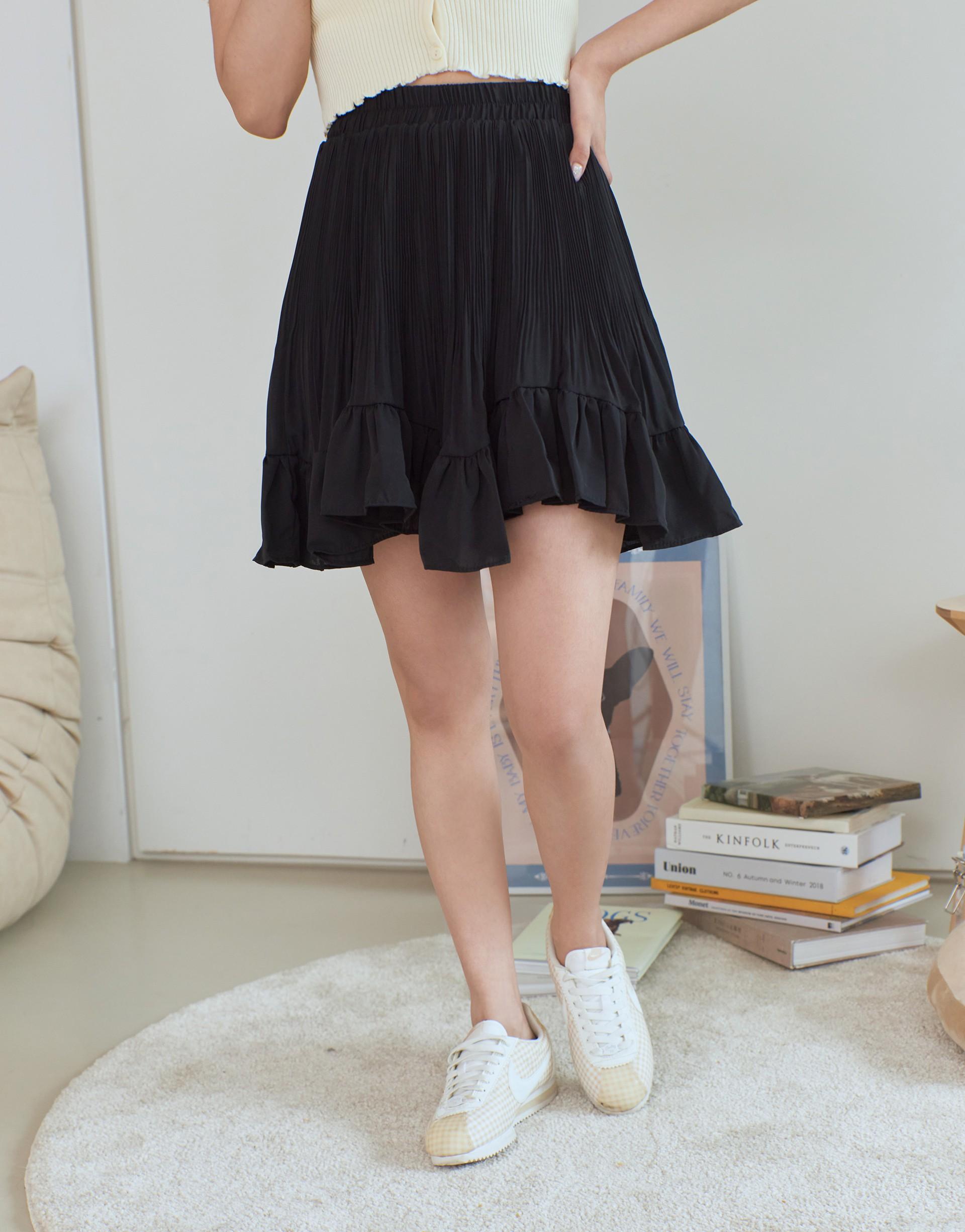 飄逸壓褶波浪短裙-PAZZO