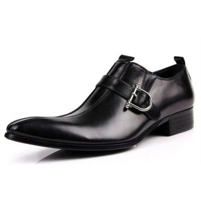 人気 ブランド メンズ 靴 レザー ビジネスシューズ 本革 スワールモカ モンクストラップ ロングノーズ サイドゴア 革靴 紳士靴 カジュアル (ブラック) A068-726