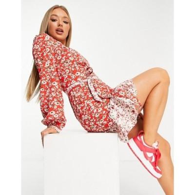 チチロンドン レディース ワンピース トップス Chi Chi London flippy ditsy floral print mini dress in red