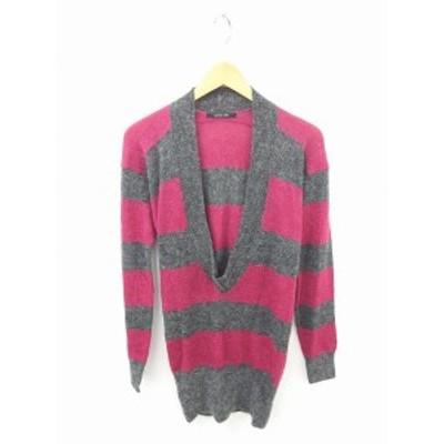 【中古】メイソングレイ ワンピース ひざ丈 ニット ボーダー ウール混 長袖 2 灰 赤紫 グレー ワインレッド