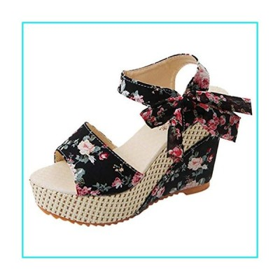 RQWEIN Womens Lace Up Wedge Espadrille Sandals Open Toe High Heel Sandals with Ankle Strap Buckle Up Shoes(Black,6)【並行輸入品】