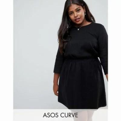 エイソス ワンピース ASOS DESIGN Curve casual elasticated mini dress in grid texture Black