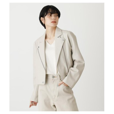 (AZUL by moussy/アズールバイマウジー)ECO LEATHER SHOR JACKET/レディース IVOY3