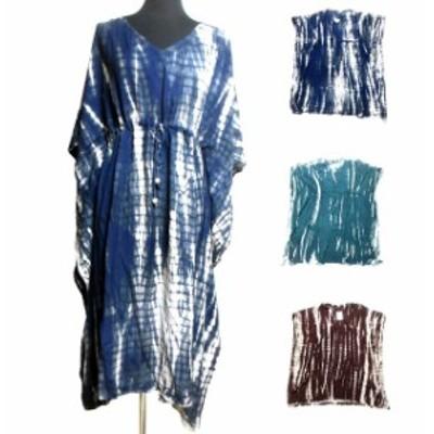 タイダイ染めエスニックポンチョ風ワンピース エスニック衣料 エスニックアジアンファッション