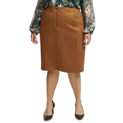 カルバンクライン スカート ボトムス レディース Plus Size Faux-Suede Pencil Skirt Tobacco Brown