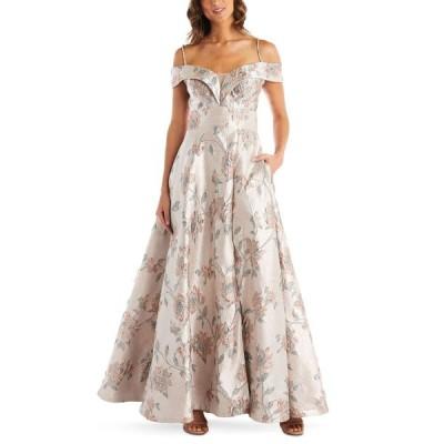 ナイトウェイ Nightway レディース パーティードレス オフショルダー ワンピース・ドレス Floral-Brocade Cold-Shoulder Illusion Ball Gown Rose Gold Floral