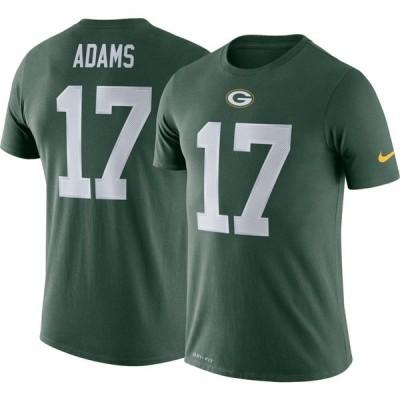 ナイキ Nike メンズ Tシャツ トップス Green Bay Packers Davante Adams #17 Logo Green T-Shirt