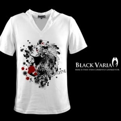 Tシャツ 半袖 スカル 羽根 ガールプリント Vネック プリント(ホワイト白) ztm002