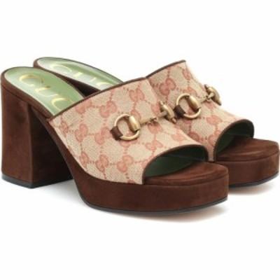 グッチ Gucci レディース サンダル・ミュール シューズ・靴 GG canvas and suede sandals Beige Ruggine/Maroon