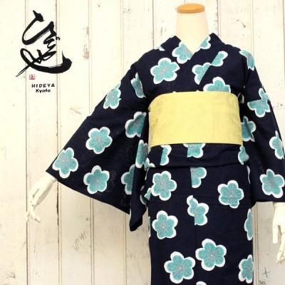 女性浴衣 ひでや工房オリジナルゆかた 仕立上がり 濃紺地梅柄 からみ織 フリーサイズ レディース 単品 手捺染 セール対象外