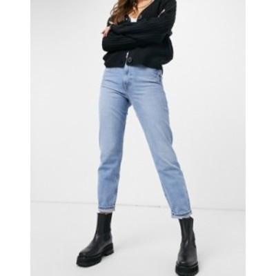 リバーアイランド レディース デニムパンツ ボトムス River Island Carrie distressed mom jeans in mid blue Mid blue