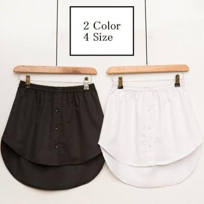 フェイクレイヤードシャツ ボトムス スカート ミニスカート ヘム レディース Aライン シンプル 無地 ホワイト ブラック コーデ 着回し 重ね着風