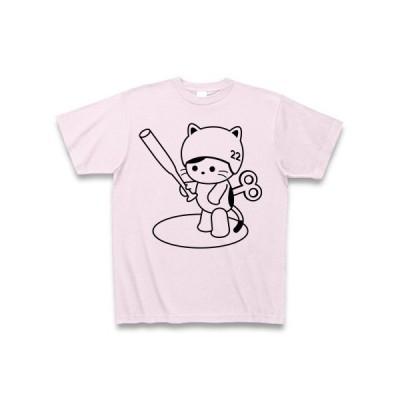 野球をするねこ(元気ゼンマイ注入) Tシャツ(ピーチ)