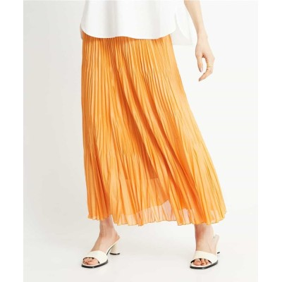 (MICHEL KLEIN/ミッシェルクラン)【洗える】チンツ加工プリーツスカート/レディース オレンジ