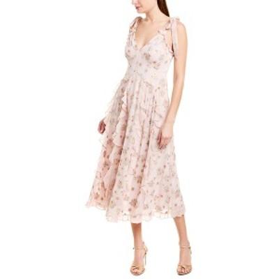 レベッカテイラー レディース ワンピース トップス Rebecca Taylor Leander Silk-Blend Midi Dress pale pink combo