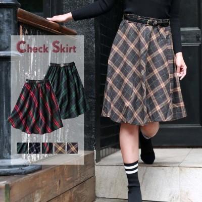 レディーススカート膝丈スカートチェック柄フレアウエストゴムミディアム