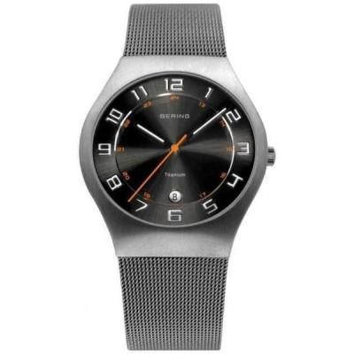 腕時計 ベーリング メンズ *BRAND NEW* Bering  Men's Grey Mesh Stainless Steel Strap Black  Watch 11937-007