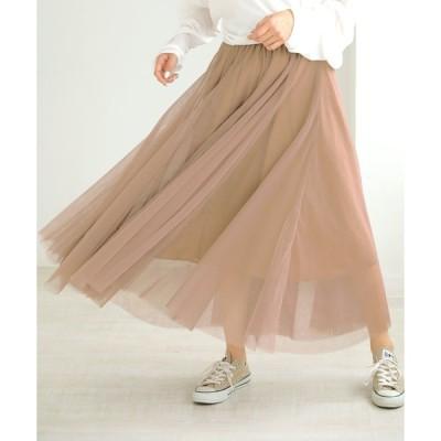 スカート チュール ロングスカート ふんわり ボリューム満点 ウエストゴム フレアスカート DONOBAN