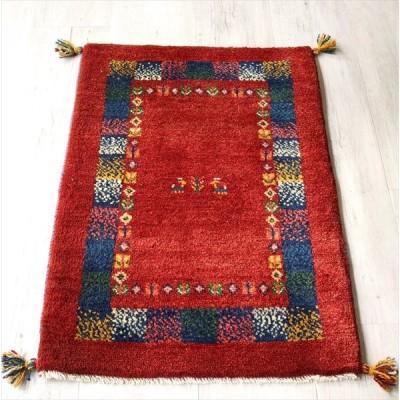 ギャッベ 手織りラグ イラン製 ウール100% 玄関マットサイズ90x64cm レッド ネイビー ドットデザイン 動物と植物モチーフ