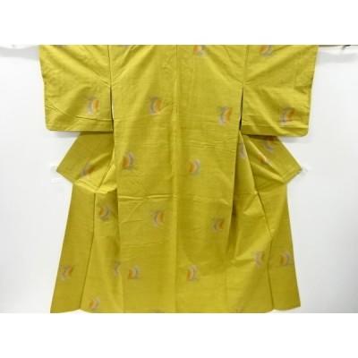 リサイクル 花模様織出手織り真綿紬着物