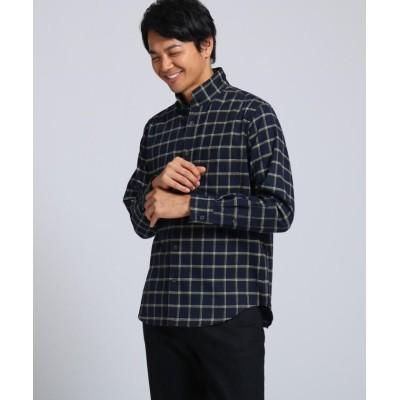 【タケオキクチ】 ビエラウィンドペン スタンドカラーシャツ メンズ ダークネイビー 03(L) TAKEO KIKUCHI