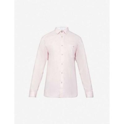 テッドベーカー TED BAKER メンズ シャツ トップス Long-sleeve linen and cotton-blend shirt PINK