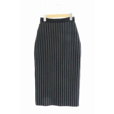 【中古】セオリー theory 19SS Lustrate Straight Skirt ストレート ストライプ ニット スカート 01-9307703 P 黒 ブラック ● 200725 0025