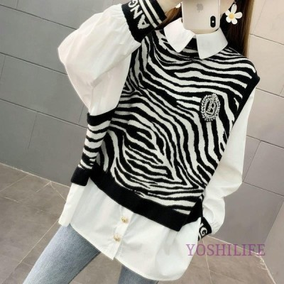 ブラウス レディース 女性用 トップス 長袖 ニットベスト風 シャツ 重ね着風 ゼブラ柄 ドッキングシャツ ビジュー ラインストーン おしゃれ カジュ
