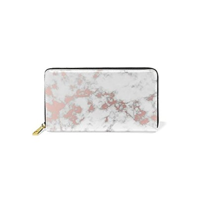 ALAZA Women Long Leather Zipper Wallet Abstract Marble With Rose Gold Purse