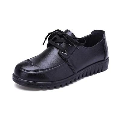 レディース ローファー レースアップ フラットシューズ モカシン 作業靴 軽量 歩きやすい 黒 (ブラック 25.0 cm)