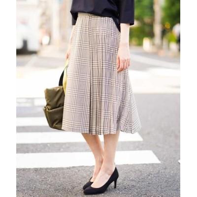 MICHEL KLEIN/ミッシェルクラン 【セットアップ対応】チェックプリーツデザインスカート ブルー 36