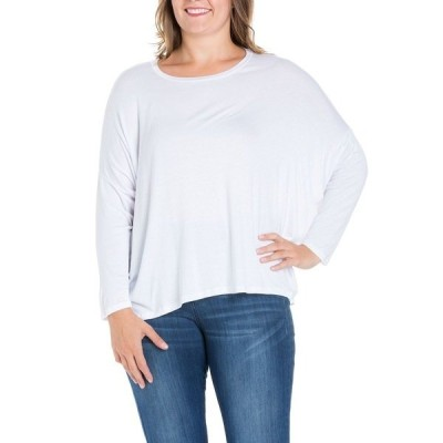 24セブンコンフォート カットソー トップス レディース Women's Plus Size Oversized Long Sleeves Dolman Top White