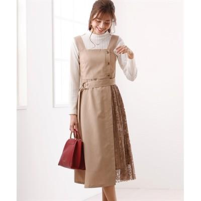 プリーツレース切替がかわいい♪ベルト付ジャンパースカート (ワンピース)Dress