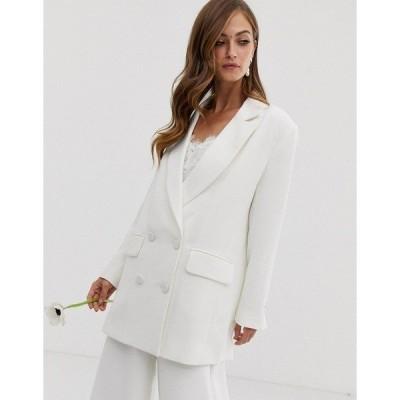 エイソス レディース ジャケット・ブルゾン アウター ASOS EDITION double breasted wedding jacket Ivory