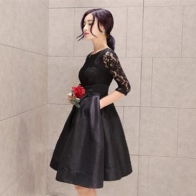 二次会 ウエストリボン ドレス