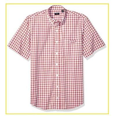 新品Arrow 1851 Men's Big and Tall Hamilton Poplins Short Sleeve Button Down Plaid Shirt,  Cranberry 1, 3X-Large Tall並行輸入品