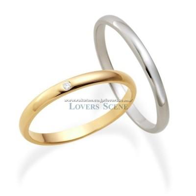 ペアリング K10 ピンクゴールド ホワイトゴールド LSR0601DPK-WG Lovers & Ring 素材が選べるペアリング 女性 彼女 妻 誕生日プレゼント