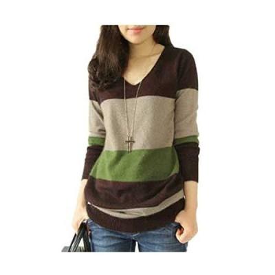 (ロンショップ)R.O.N shop レディース Vネック セーター 長袖 ニット ボーダー 切り替え 3色 大きいサイズ も ?