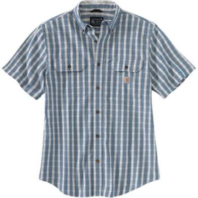 カーハート シャツ トップス メンズ Carhartt Men's Chambray Plaid Button-Down Work Shirt Blue Light 01