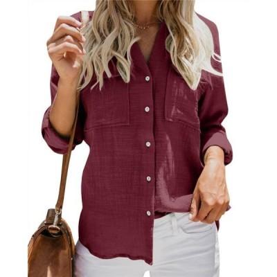 レディース 衣類 トップス Womens Button Down Shirts Long Sleeve Blouse Casual Tops with Pockets ブラウス&シャツ