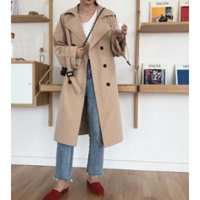 韓国 ファッション レディース トレンチコート ロングコート アウター ゆったり オルチャン カジュアル 無地 通勤 大人可愛い シンプル