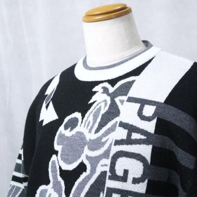 ロゴセーター パジェロ M/L  95-7004-07-5 KN*L KN*M カジュアル メンズ ニット 40 50 60 ウール 1点物 プレゼント Pagelo  クロ ブラック