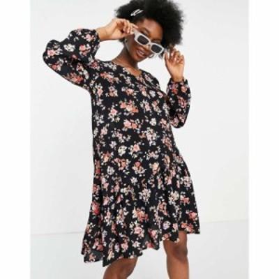 ピーシーズ Pieces レディース ワンピース Aライン ワンピース・ドレス floaty smock dress with tiered skirt in black floral ブラッ