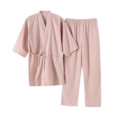 レディース 洗える夏着物 無地 作務衣 甚平 レディース 浴衣 セット 女性の しじら織り 2点セット浴衣(M ピンク)