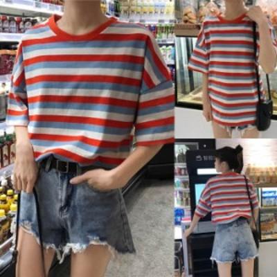 夏物 トップス オシャレ 春夏 半袖tシャツ レディース シンプル プ横縞柄 かわいい 手触り良い 2020夏新作 美品 Uネックストライプシャツ