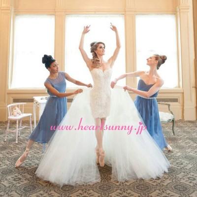 オーバースカート サイズオーダー ボリューム 8重チュール サテンベルト 取り外し可能 2wayドレスに ウェディングドレス レディース 結婚式 披露宴 二次会